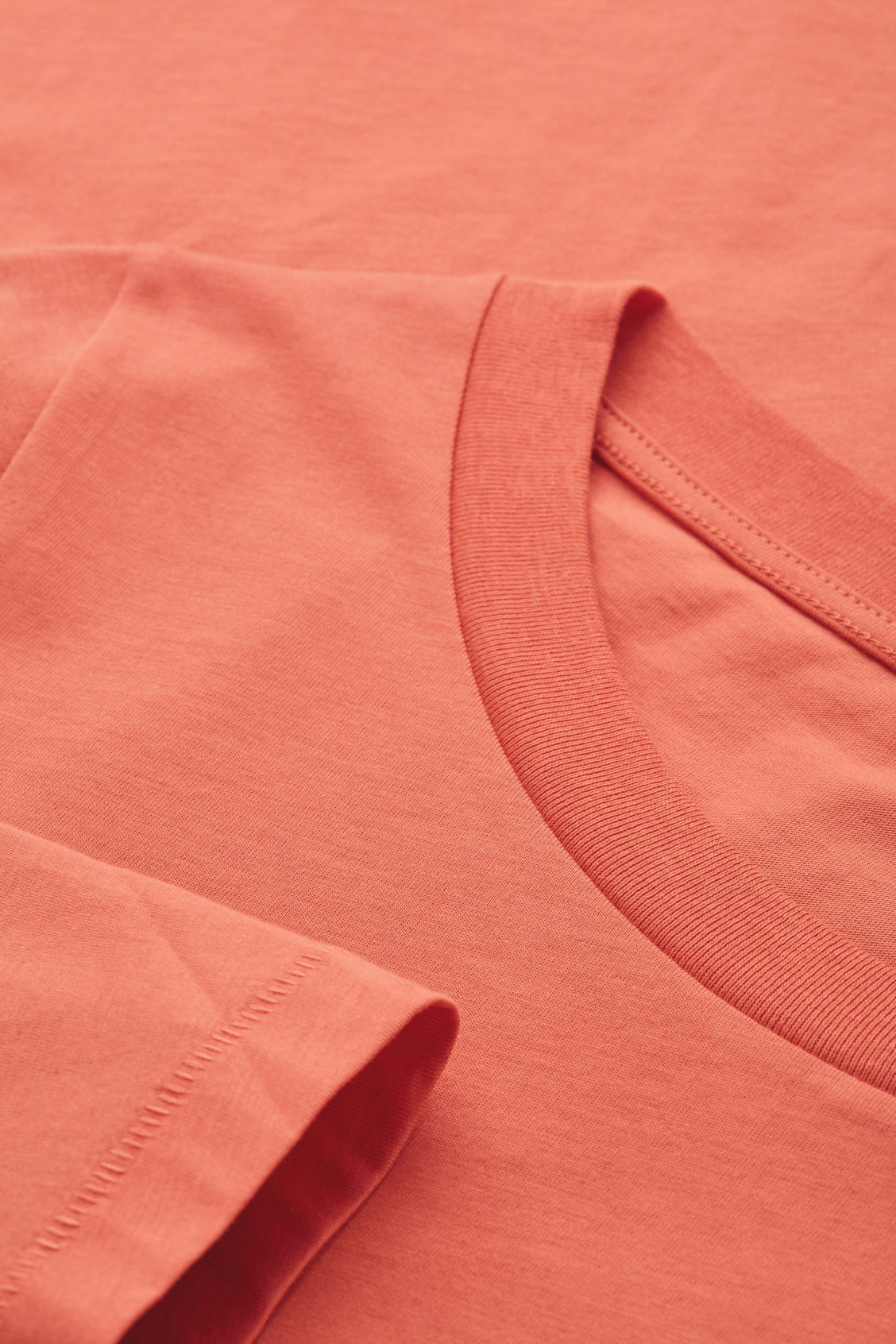Side image of Cos ¾-sleeved cotton top in orange