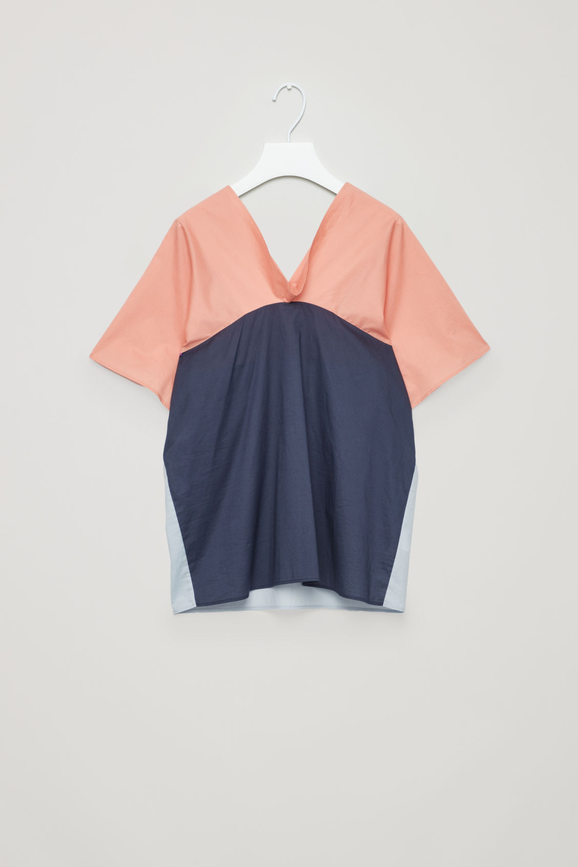 DRAPED-NECK COTTON TOP