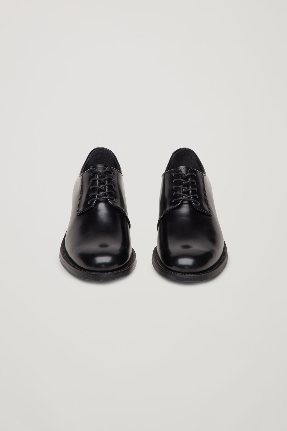 Side image of Cos lace-up leather shoes in black