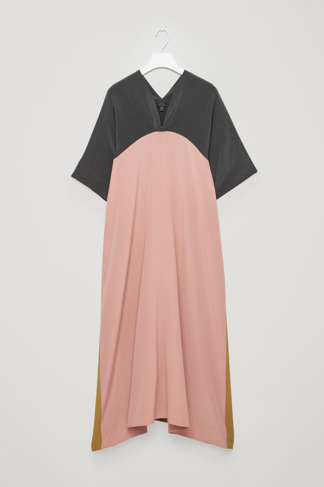 DRAPED-NECK A-LINE SILK DRESS