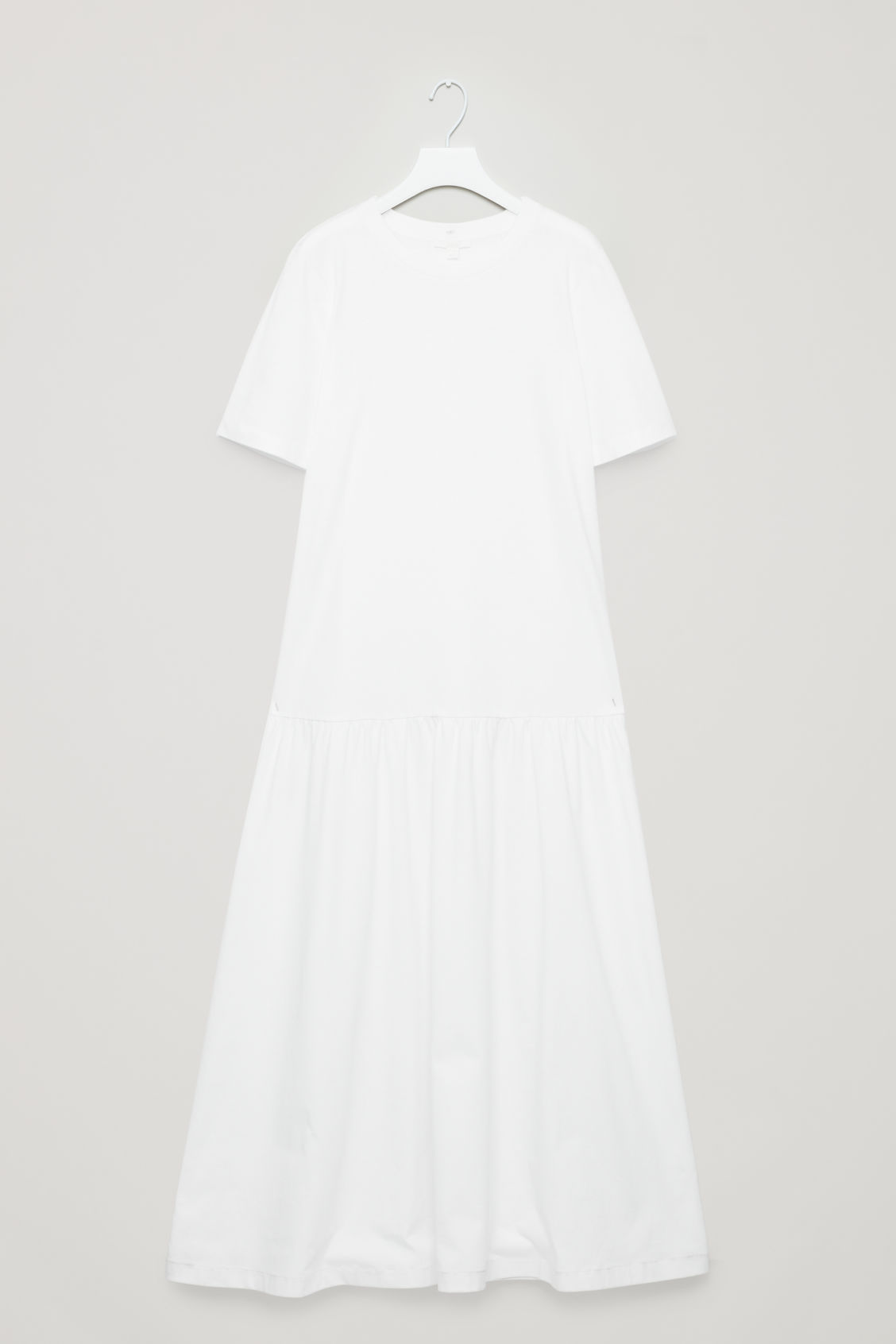 Front image of Cos long dress with frilled hem in white