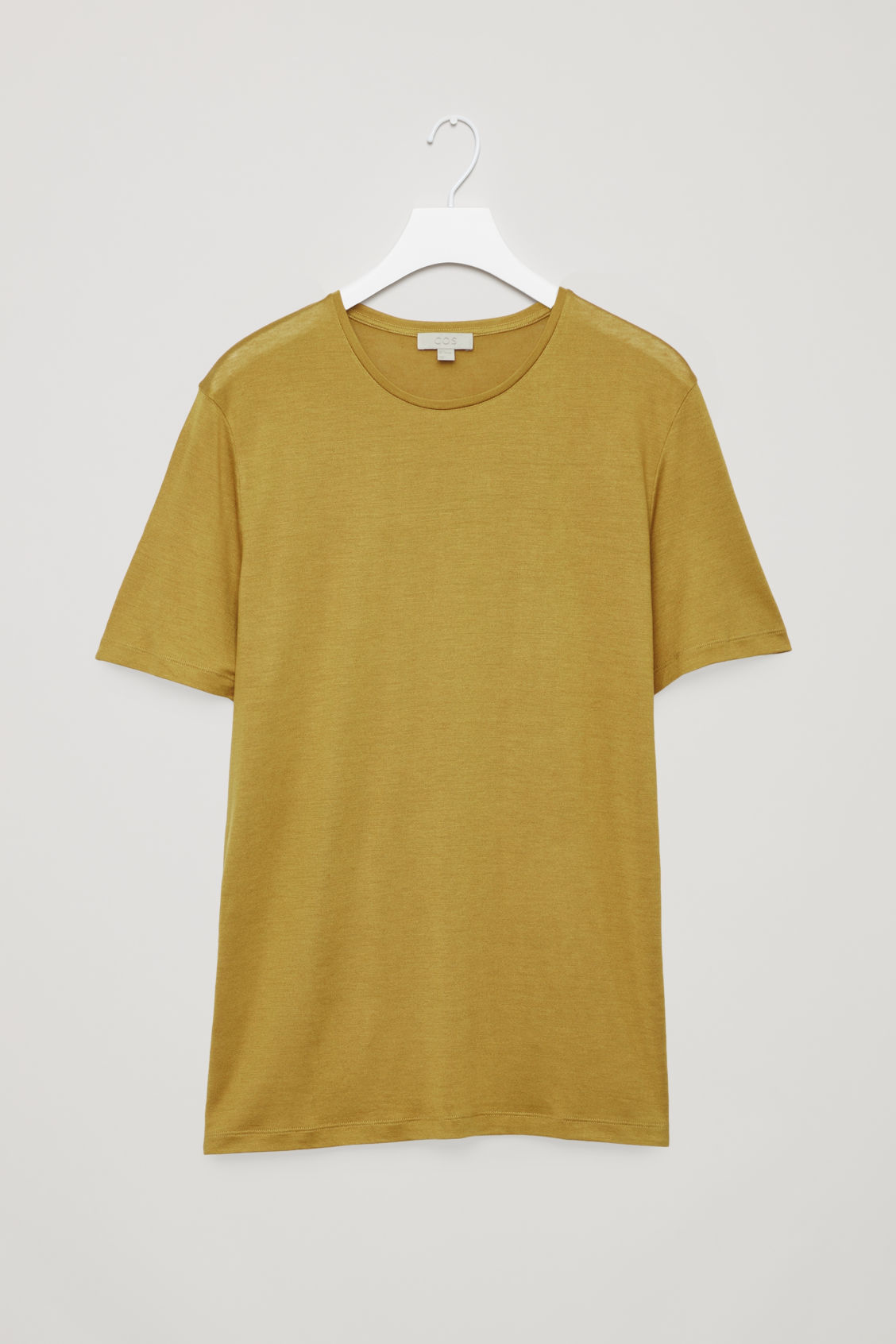 Front image of Cos silk-linen round-neck t-shirt in yellow