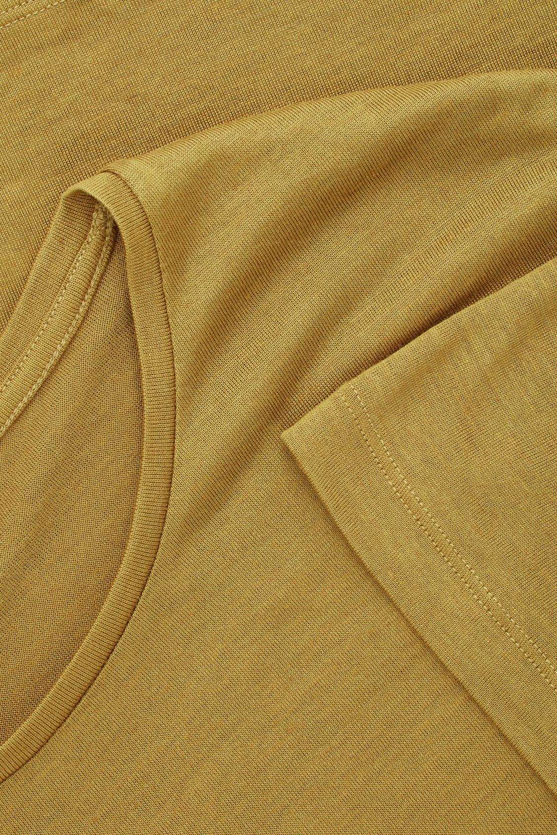 Side image of Cos silk-linen round-neck t-shirt in yellow