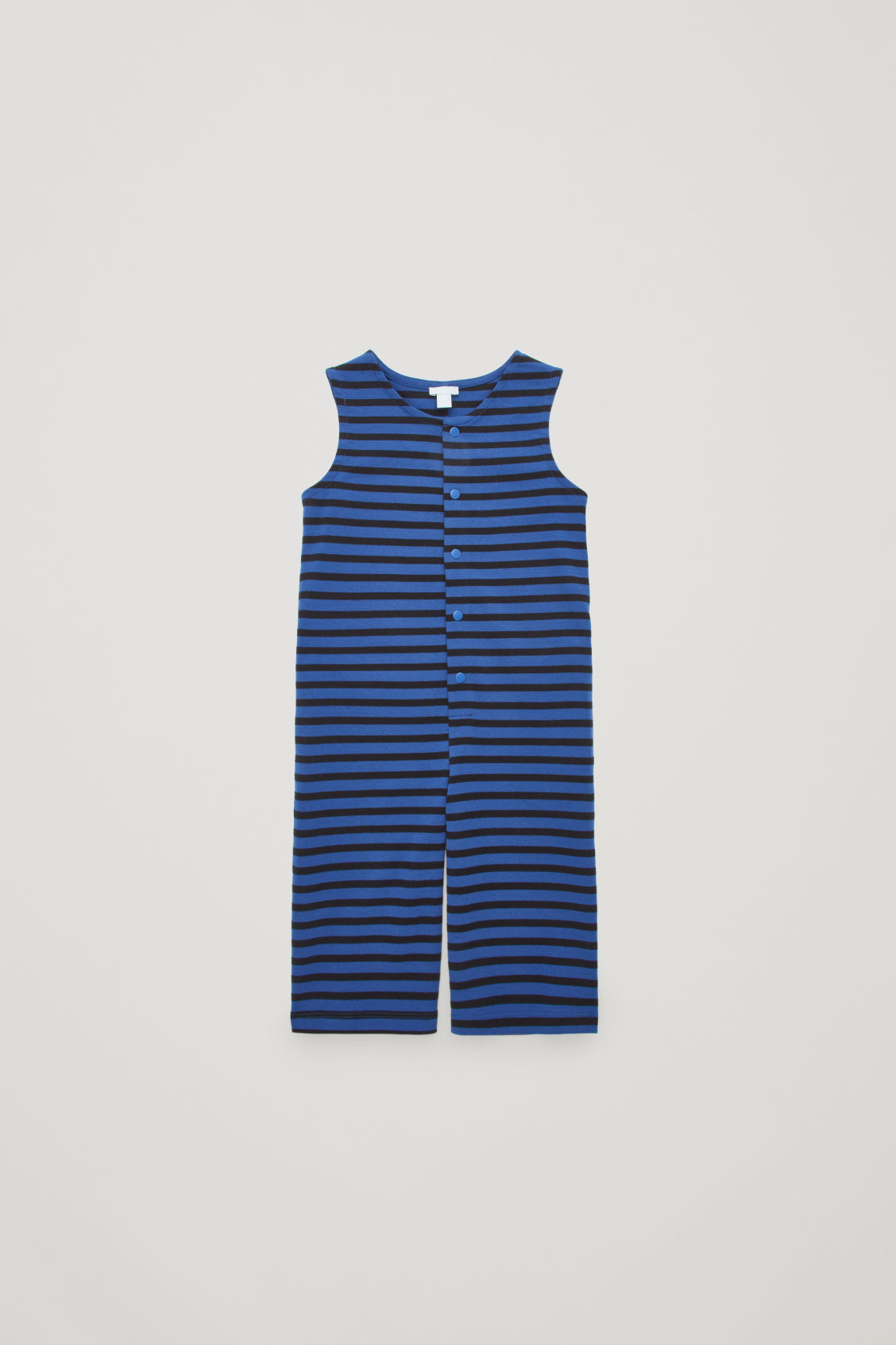 b0a9a3884182 Front image of Cos striped cotton jumpsuit in blue