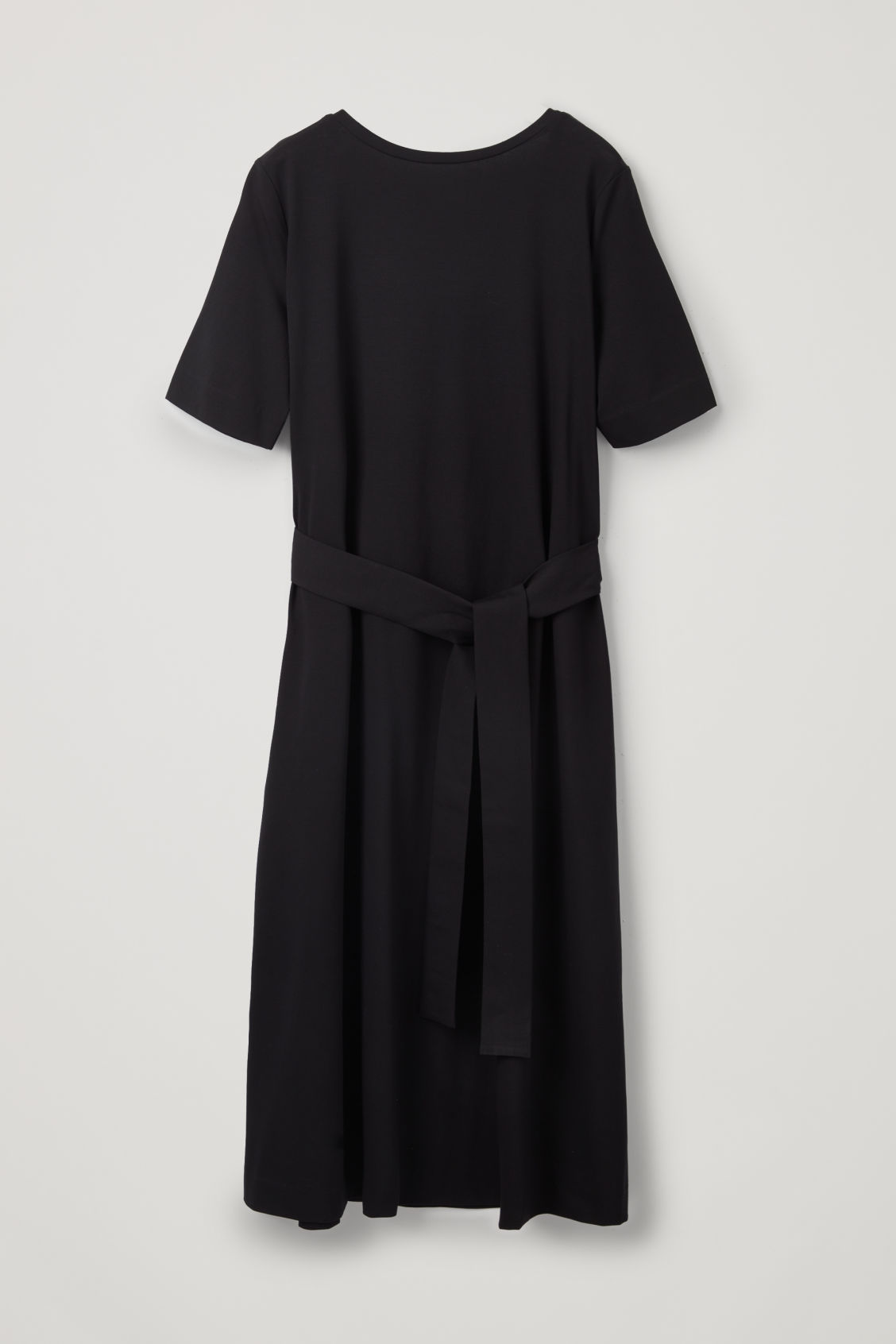Front image of Cos long a-line jersey dress in black