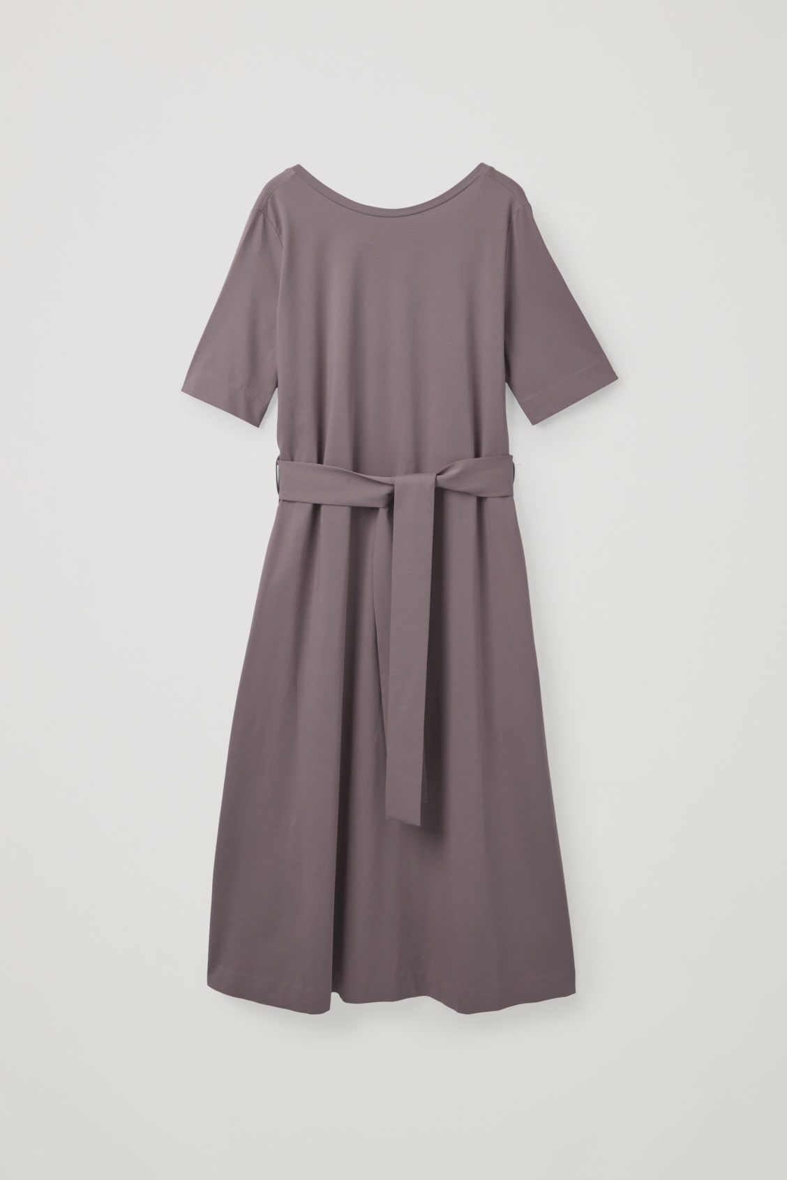 Front image of Cos long a-line jersey dress in purple