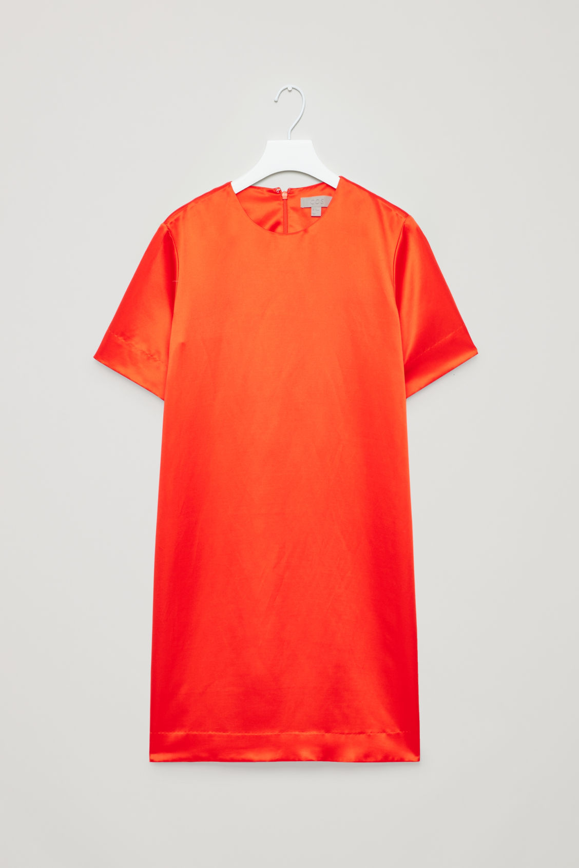 Front image of Cos short silk-blend dress in orange