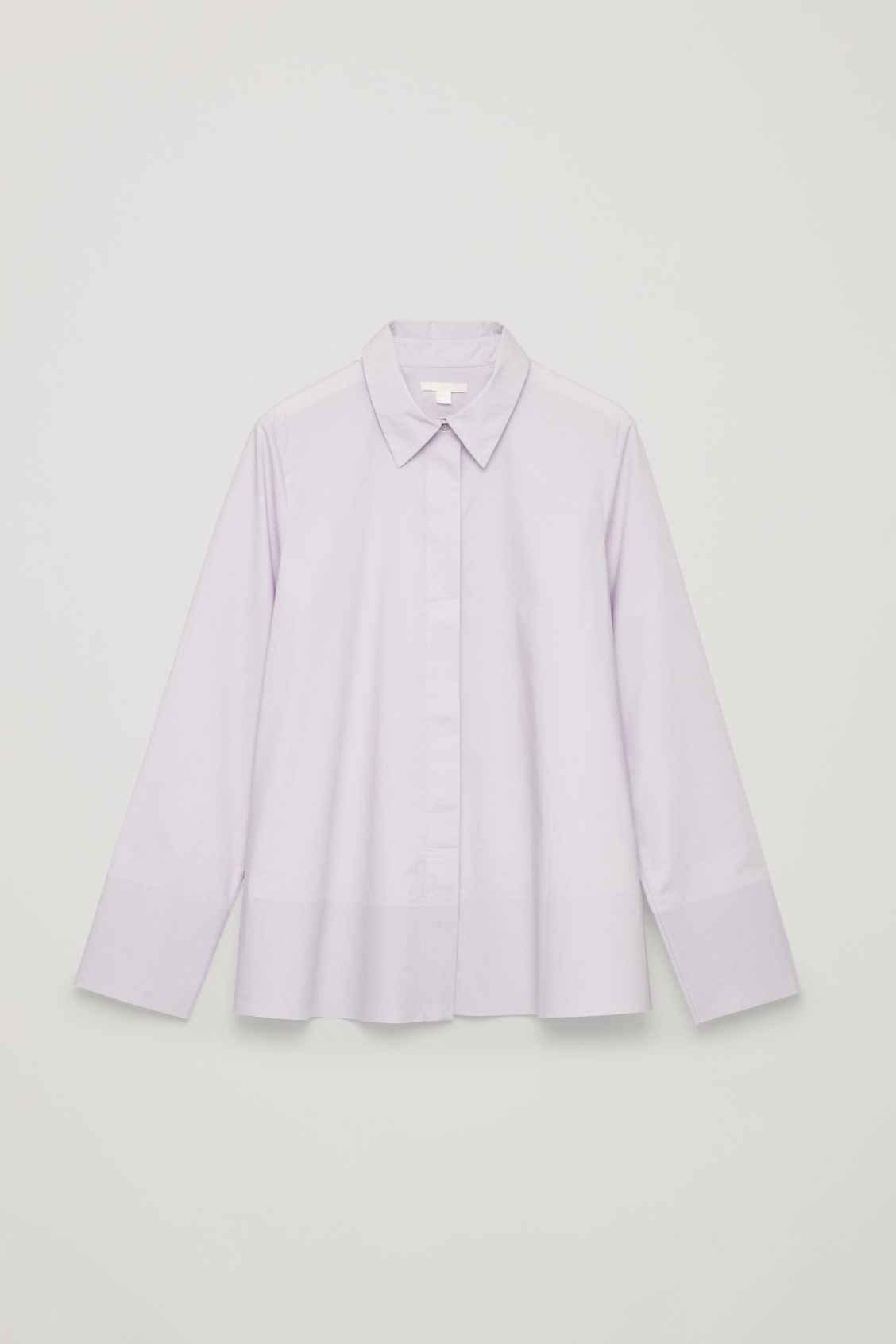 Front image of Cos cotton-poplin a-line shirt in purple
