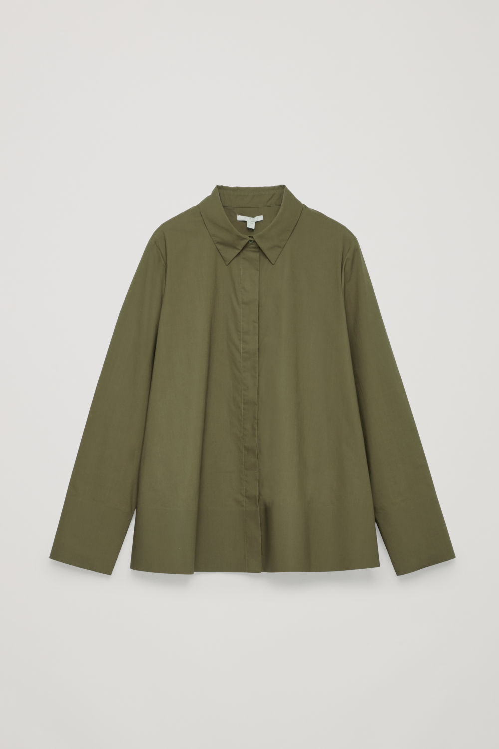 Front image of Cos cotton-poplin a-line shirt in green