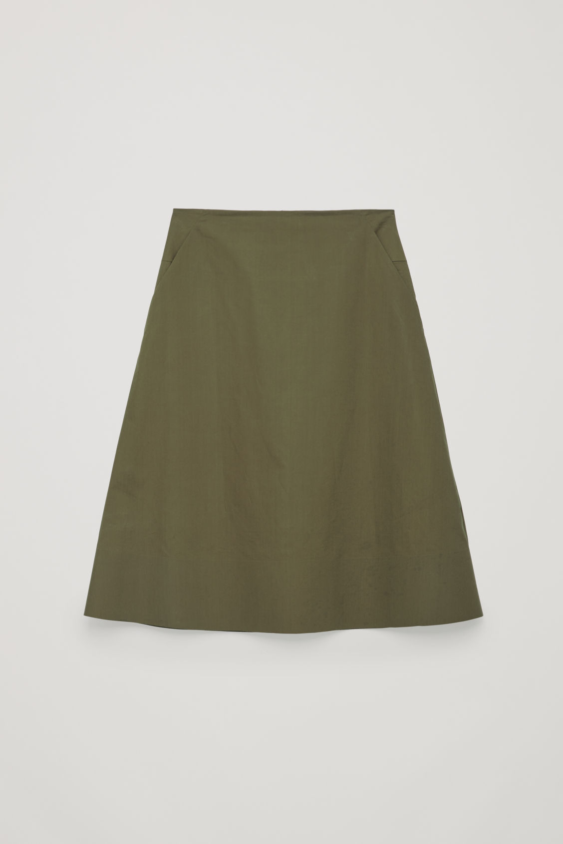 Front image of Cos cotton-poplin a-line skirt in green