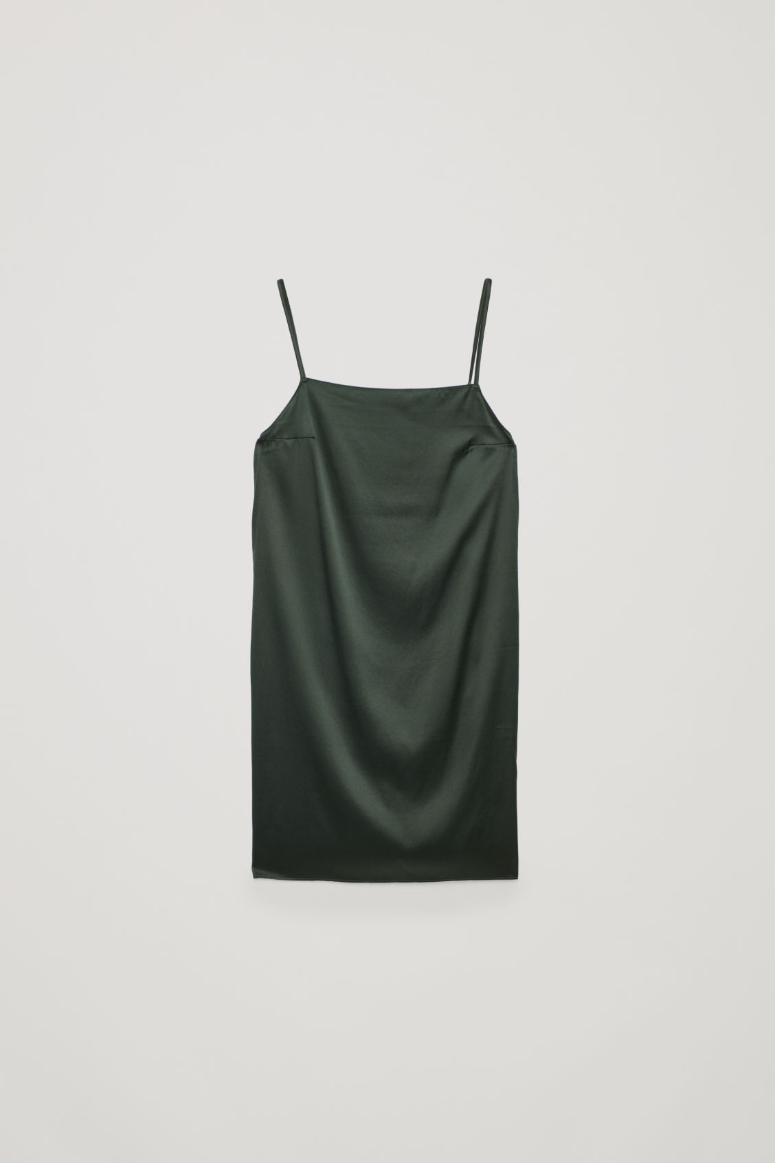 Front image of Cos short silk slip dress in green