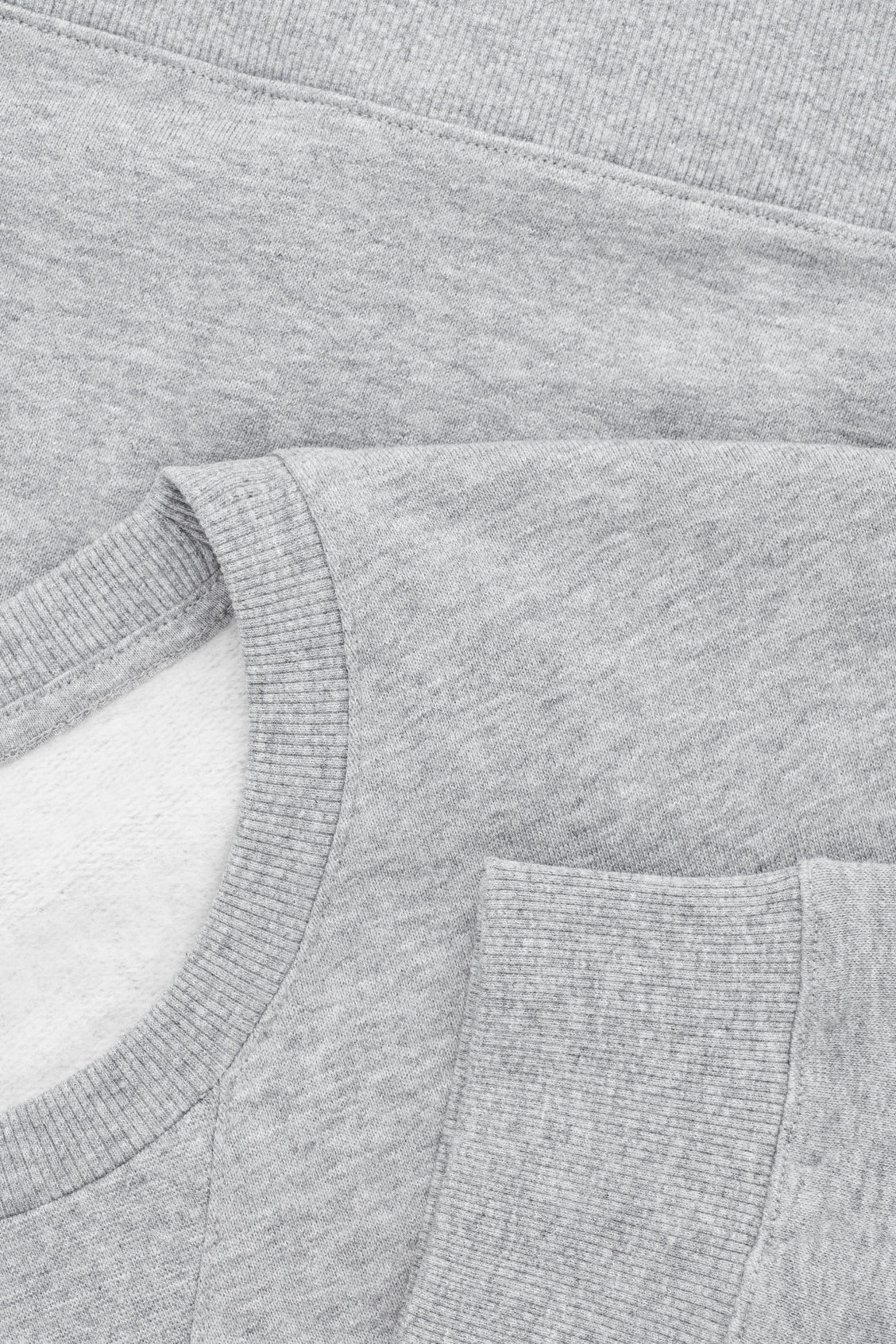 Side image of Cos brushed cotton sweatshirt in grey