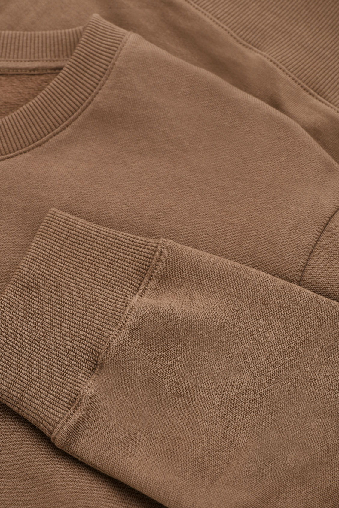 Side image of Cos brushed cotton sweatshirt in brown