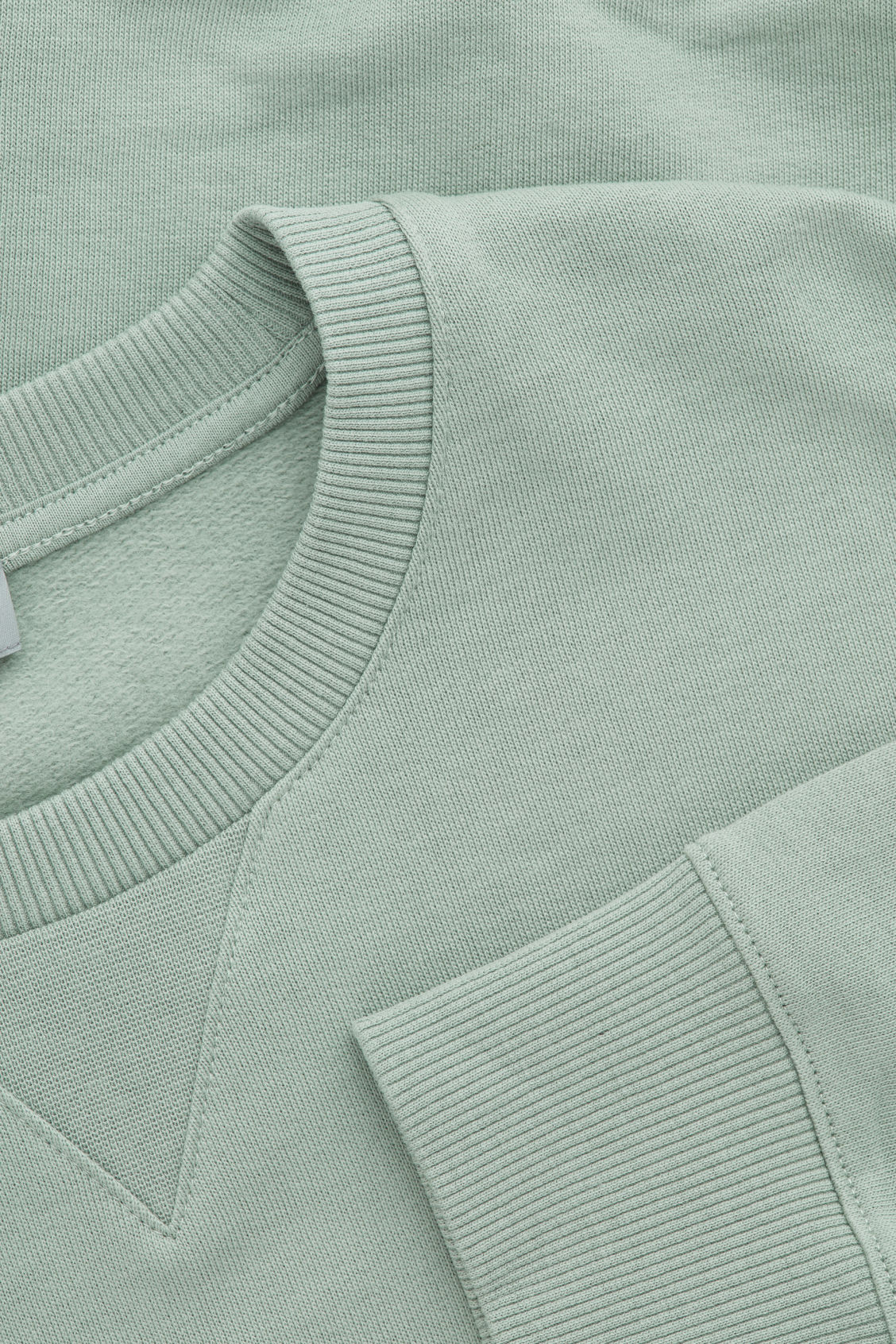 Side image of Cos brushed cotton sweatshirt in green