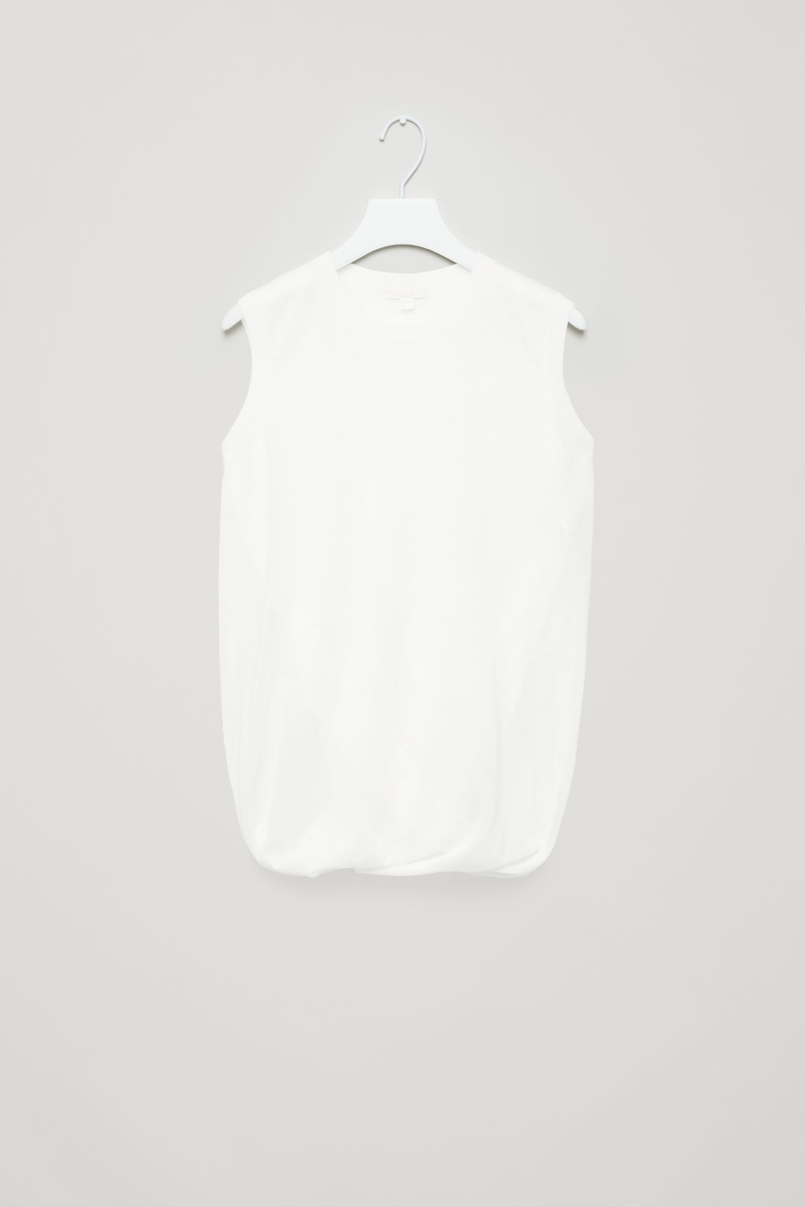 Front image of Cos layered sheer knit-woven top in white
