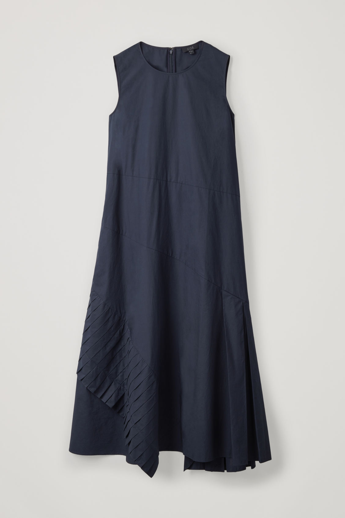 Front image of Cos a-line dress with pleated drape in blue