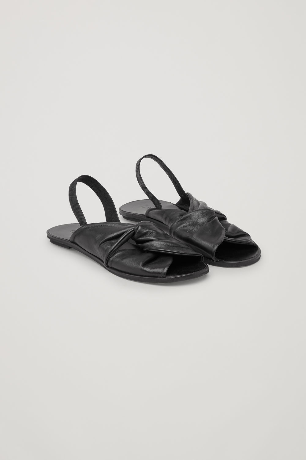 Front image of Cos knotted leather sandals in black