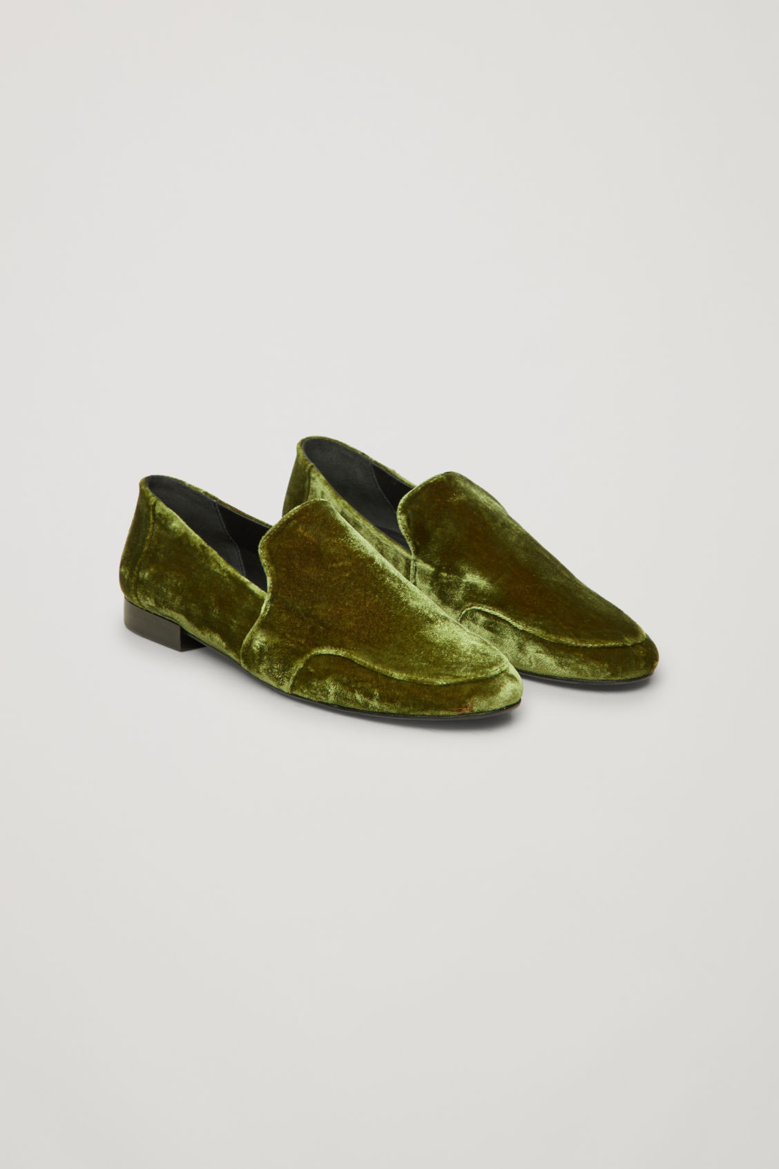 Front image of Cos soft loafers in green
