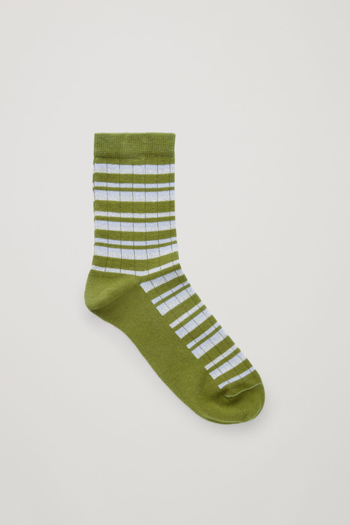 Front image of Cos metallic lurex striped socks in green