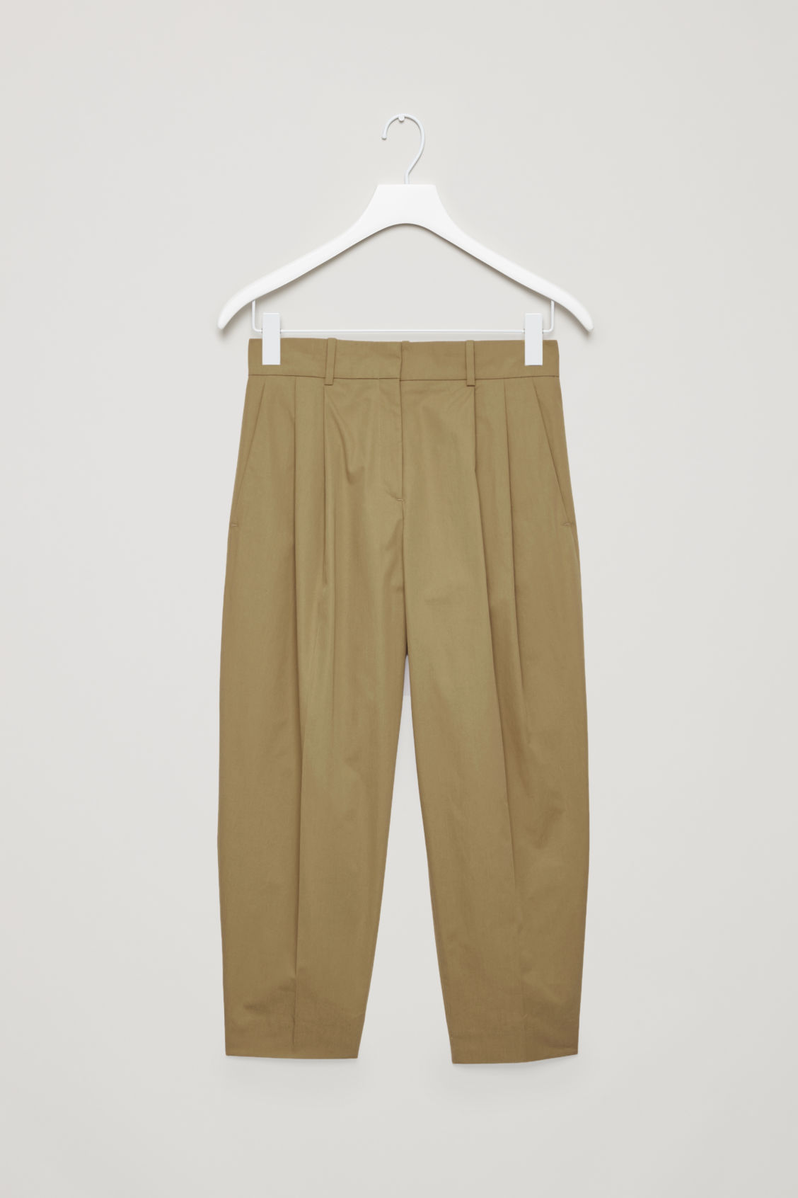 Front image of Cos wide tapered trousers in beige