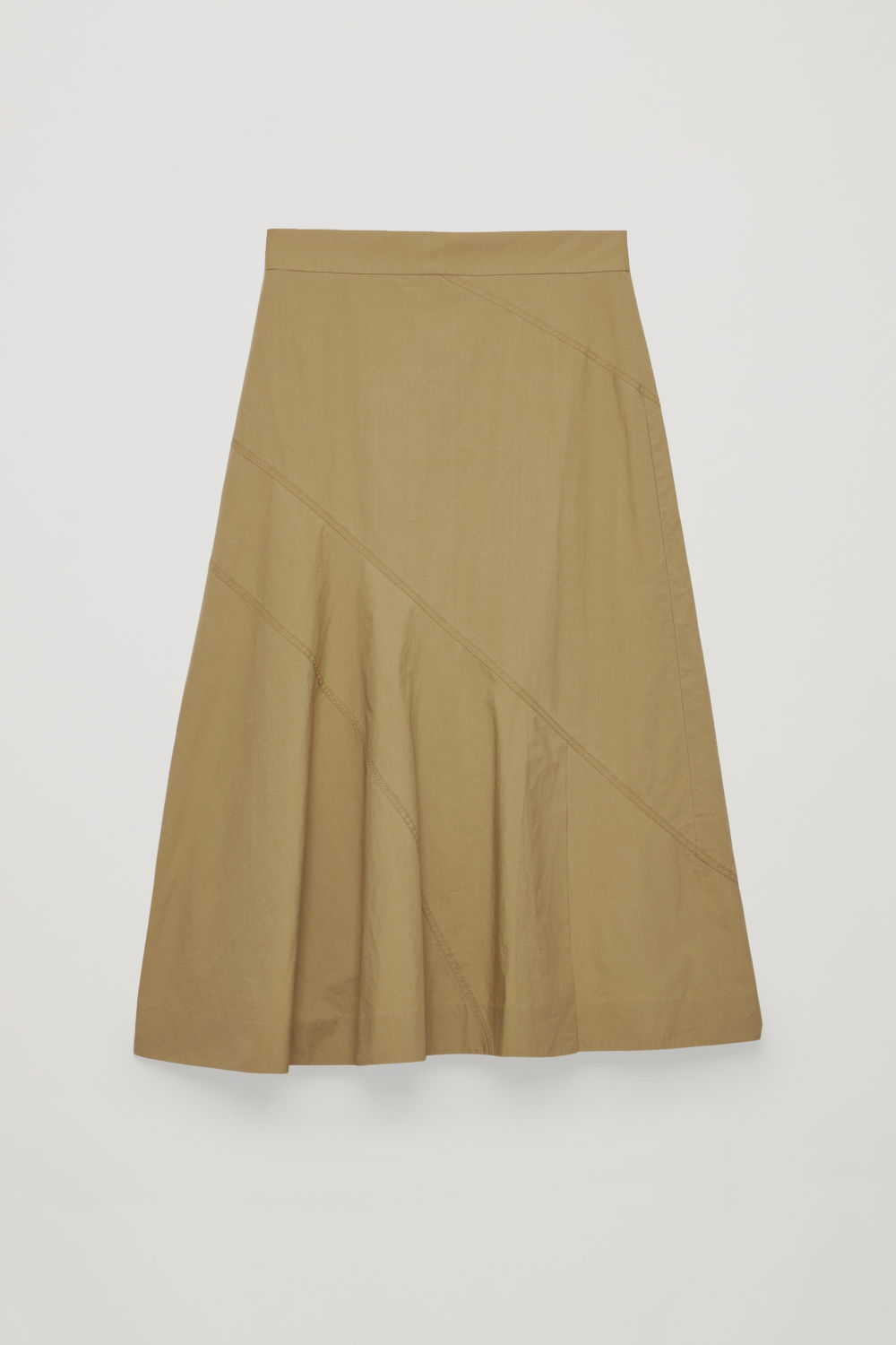 Front image of Cos slit-front panelled skirt in beige