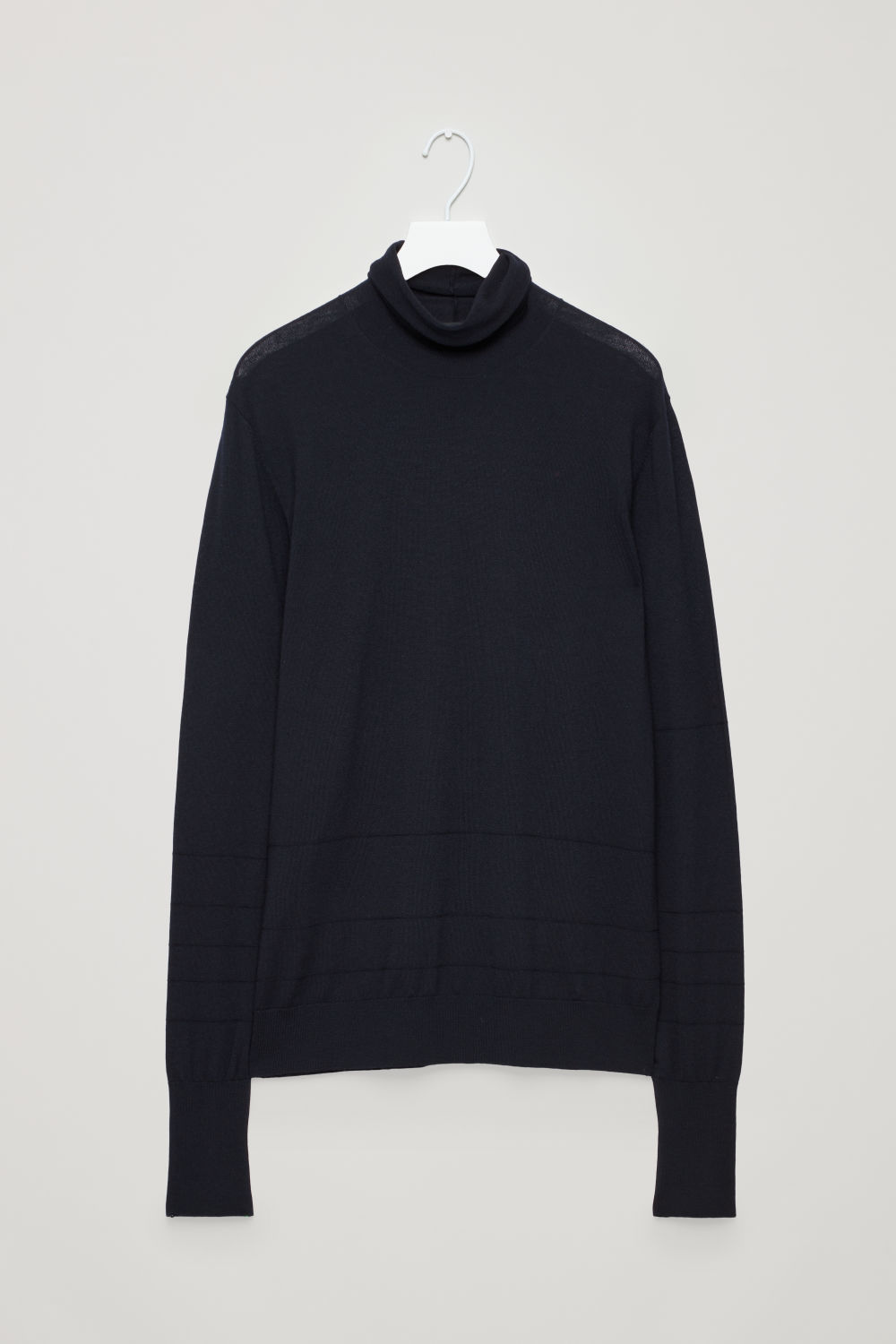 Front image of Cos reverse-stitched wool jumper in blue