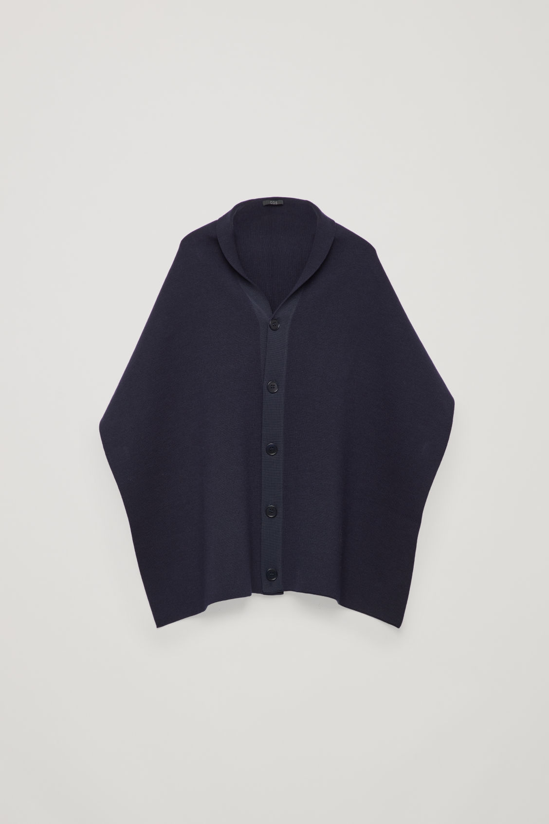 Front image of Cos cape scarf with buttons in blue
