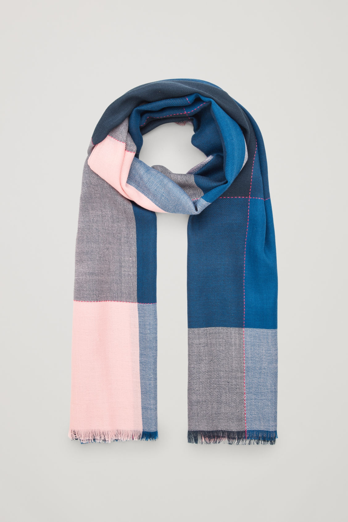 Front image of Cos interwoven checked wool scarf in blue