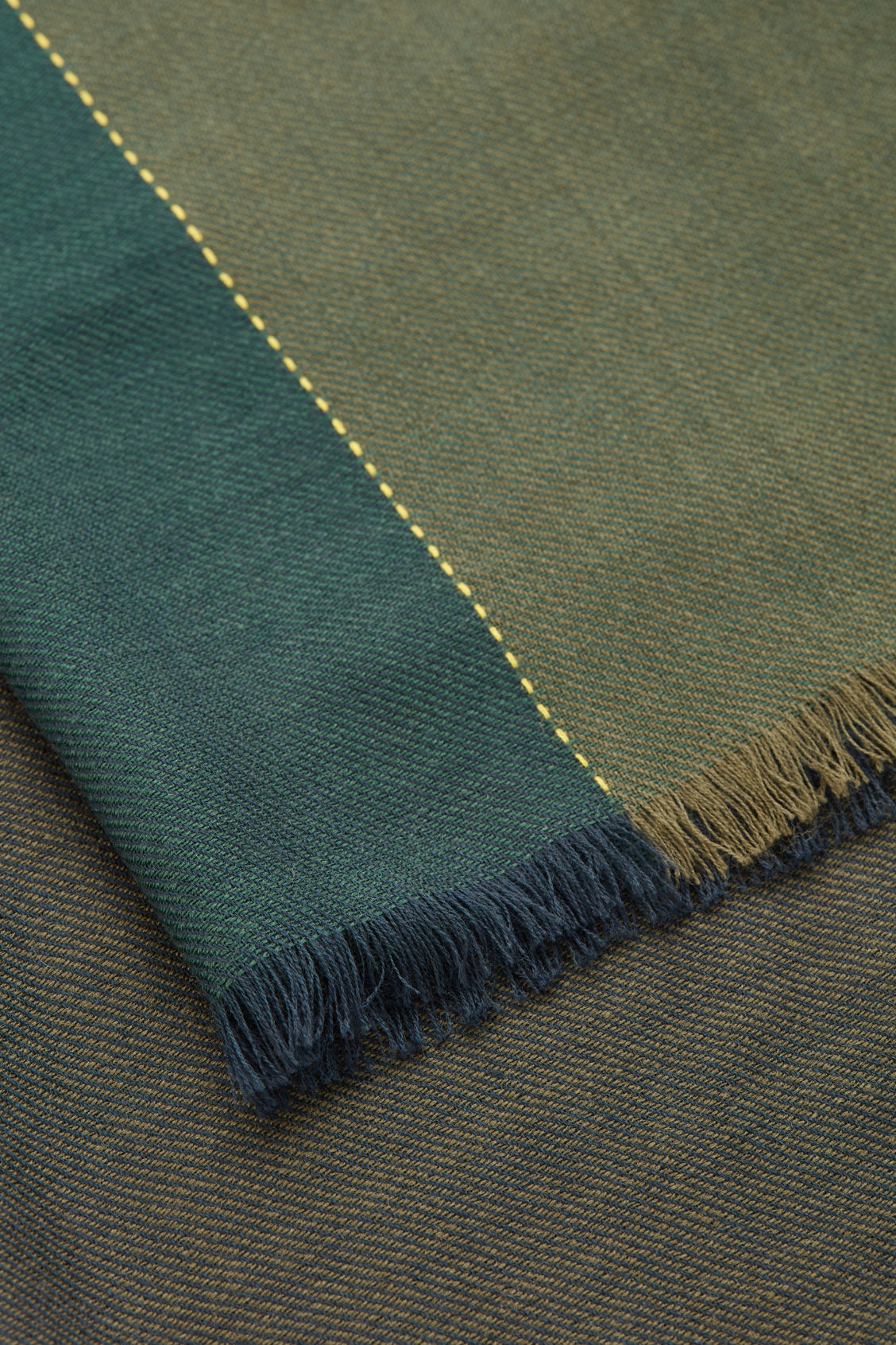 Side image of Cos interwoven checked wool scarf in green