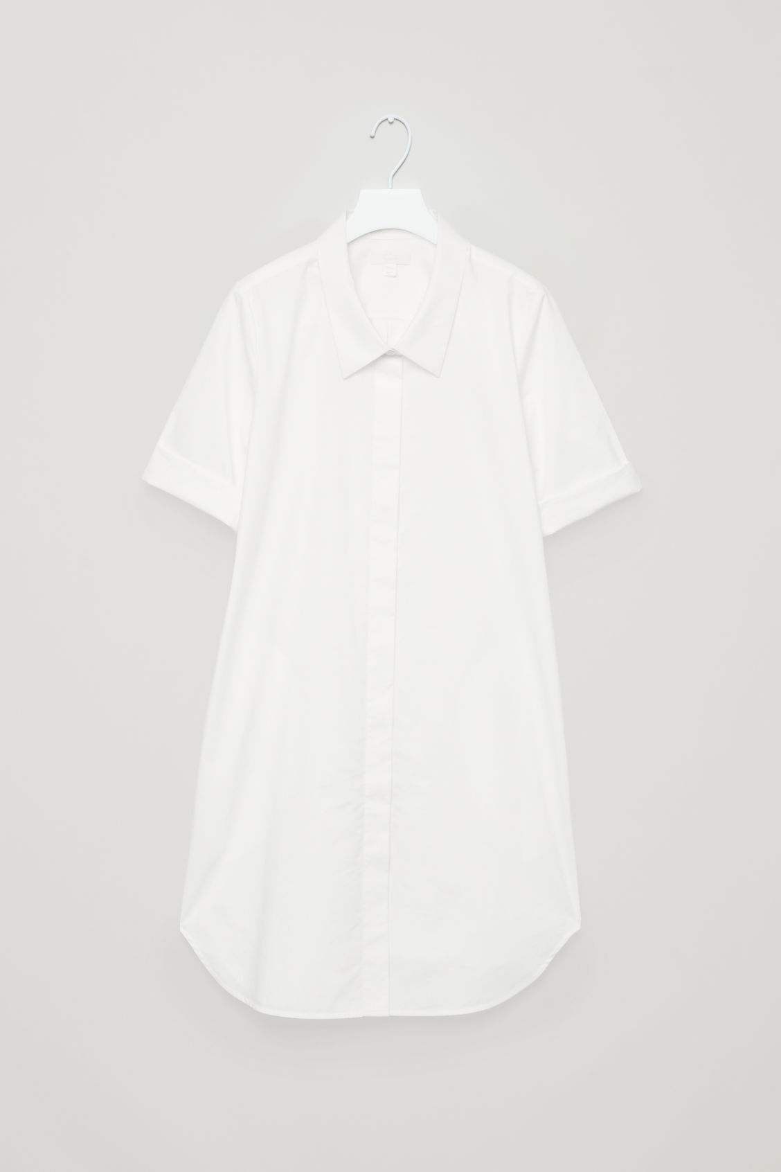 Front image of Cos shirt dress with dropped collar in white