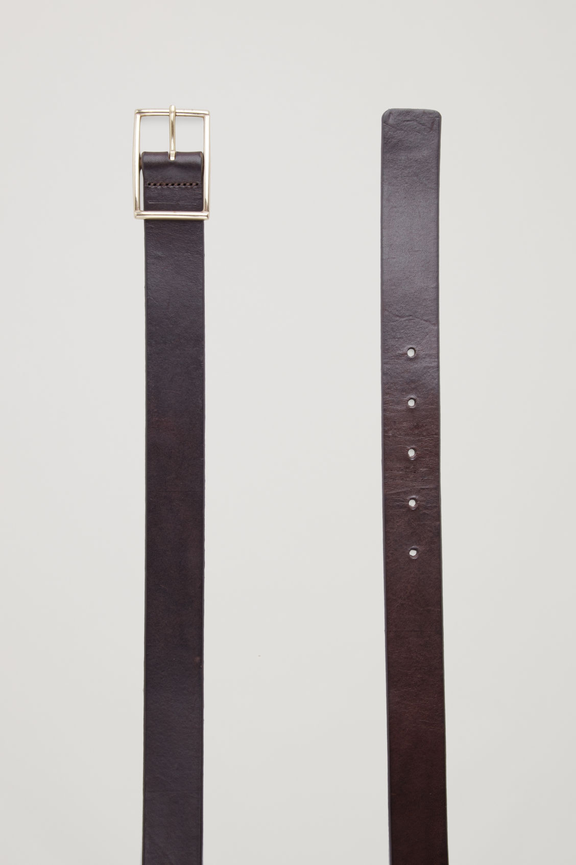 Side image of Cos leather belt with brass buckle in brown