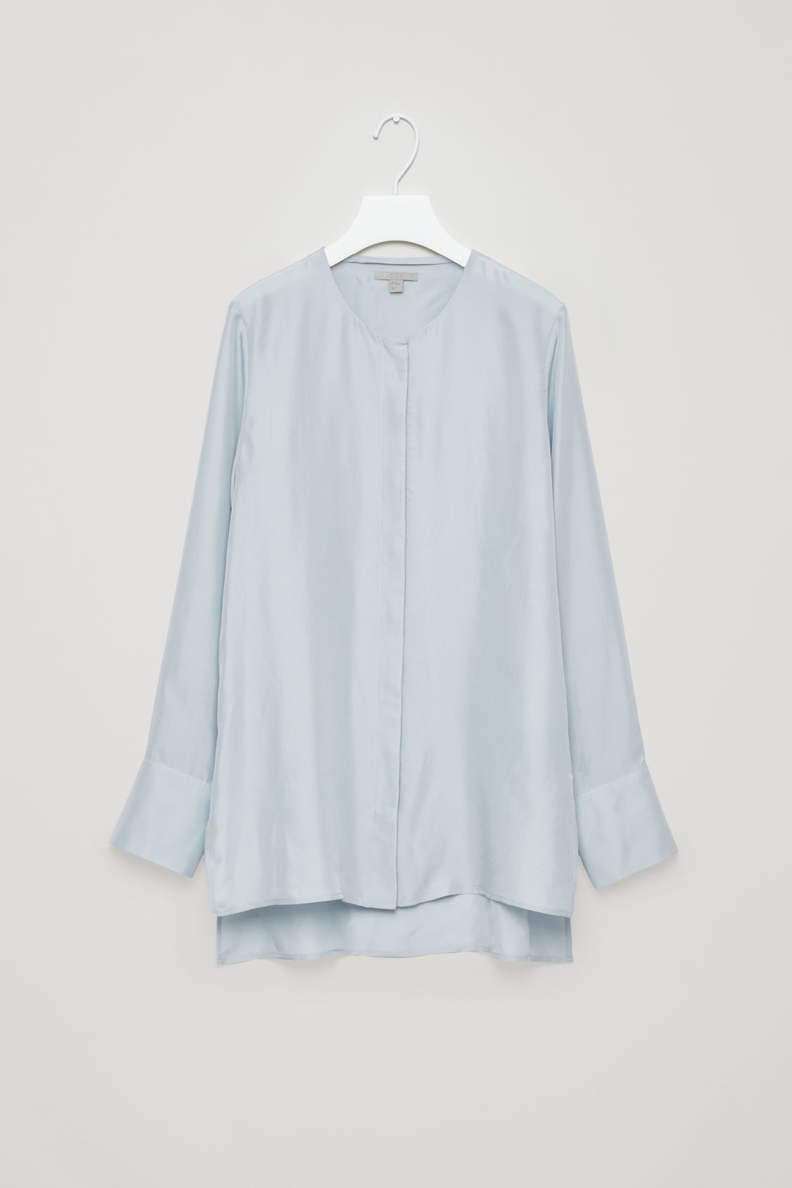 Front image of Cos collarless tunic silk shirt in blue