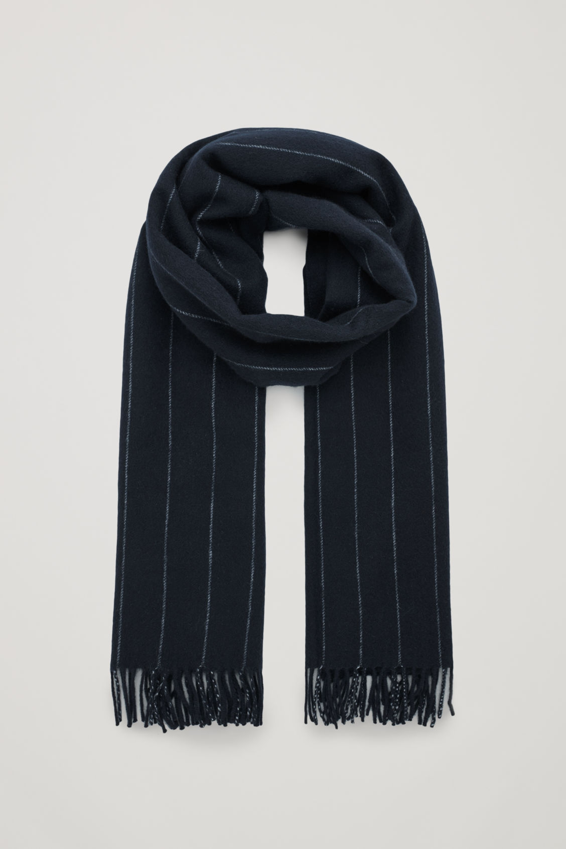 Front image of Cos striped wool scarf in blue