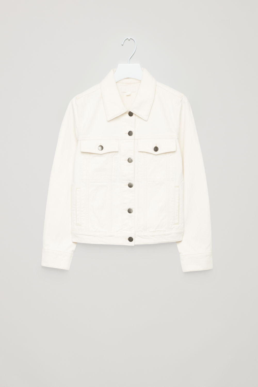 Front image of Cos cropped denim jacket in neutral