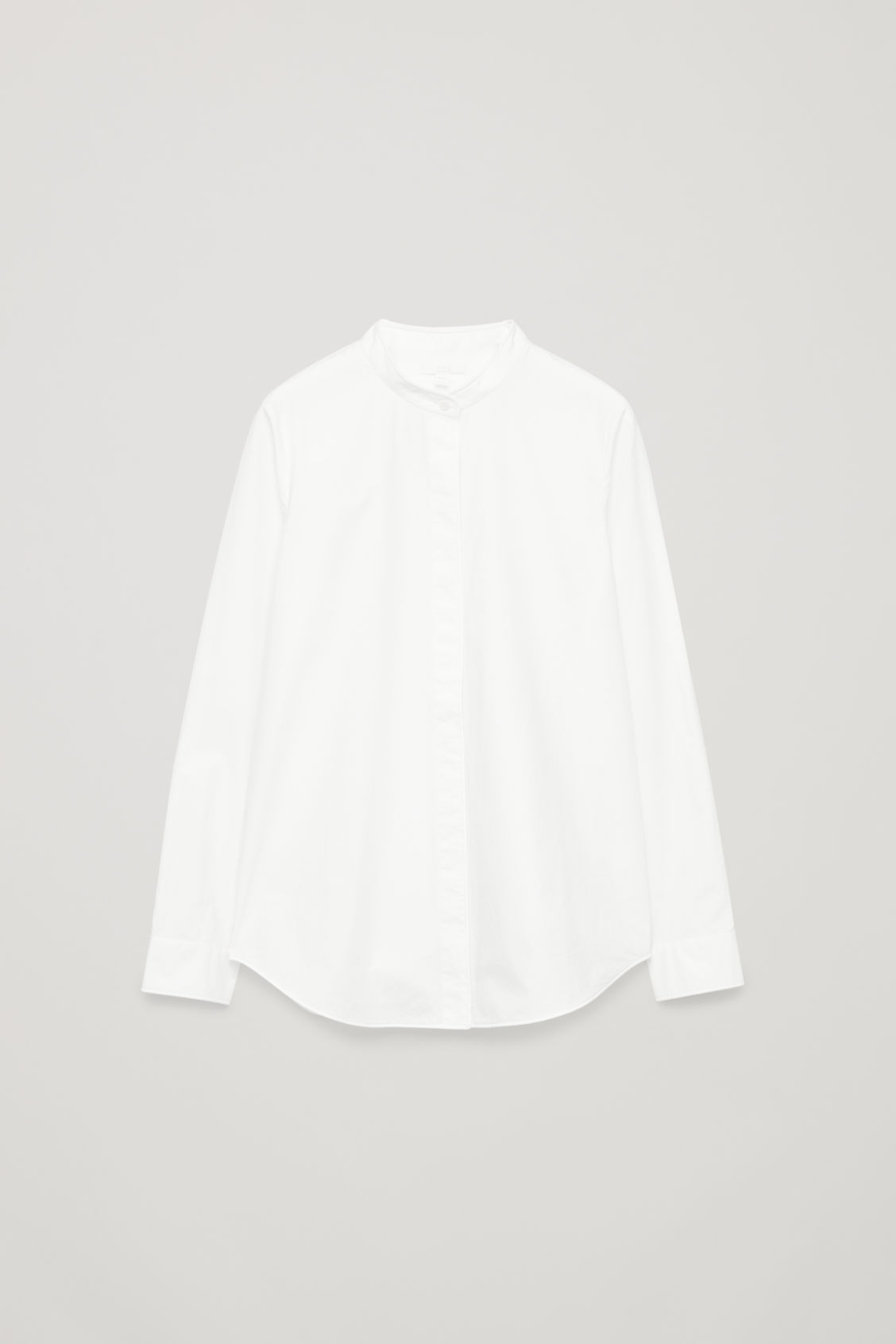 Front image of Cos grandad-collared cotton shirt in white