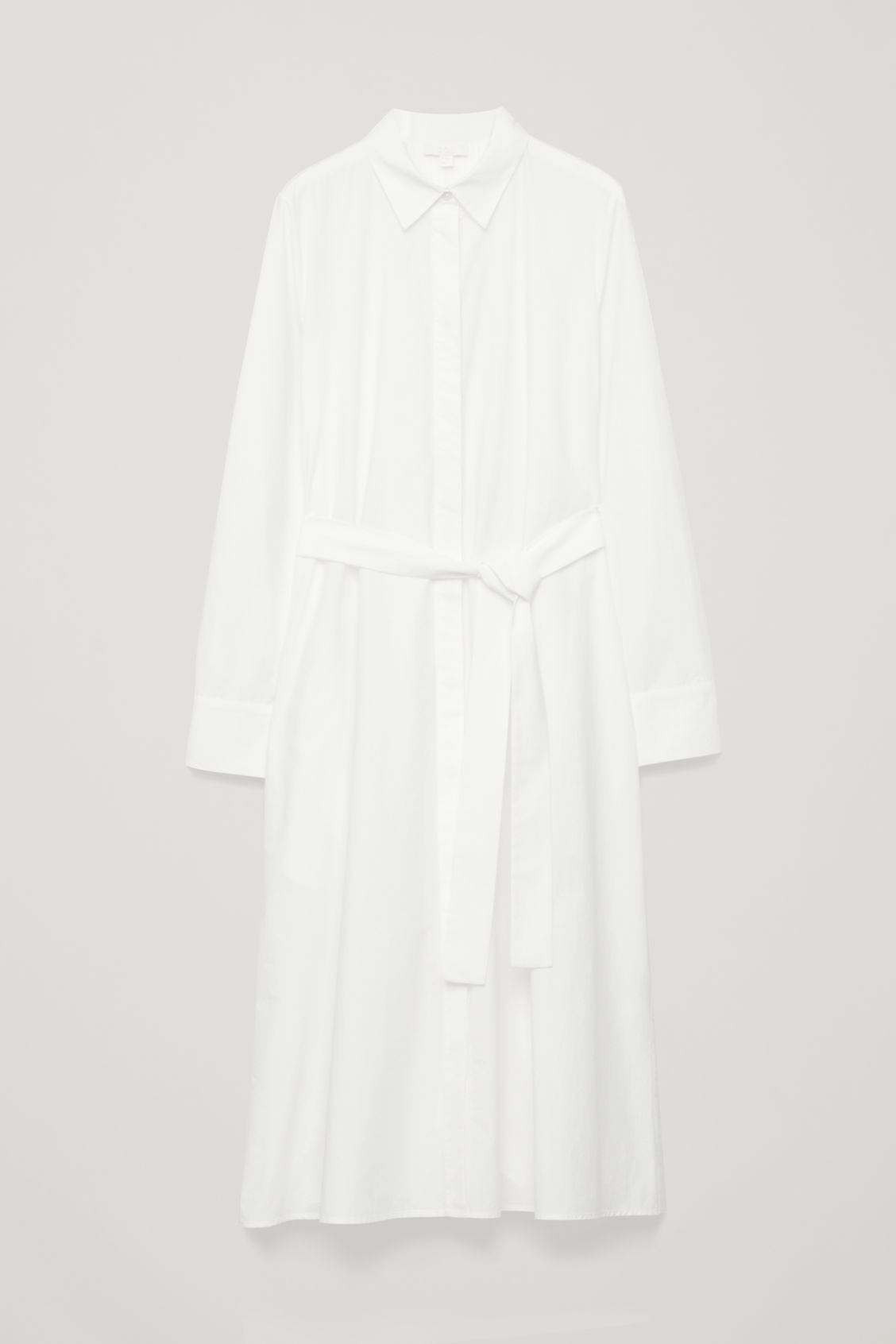 Front image of Cos pleated-back shirt dress in white
