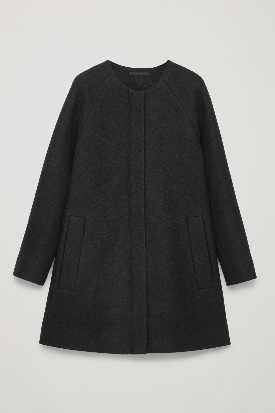 Front image of Cos a-line wool coat with pockets in black