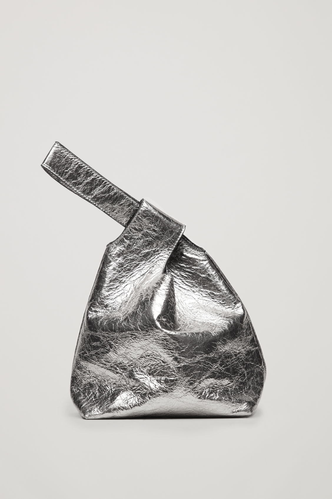 Front image of Cos leather wristlet bag in silver