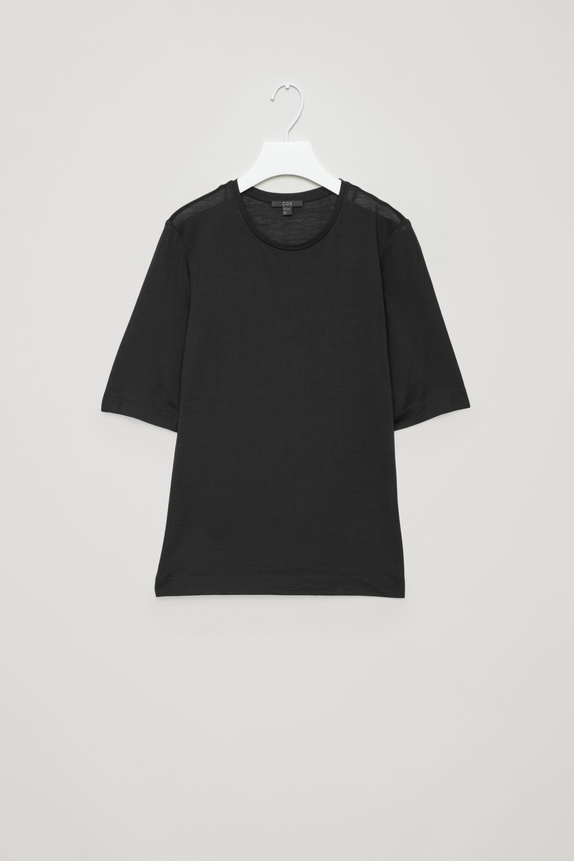 Front image of Cos silk short-sleeved t-shirt in black