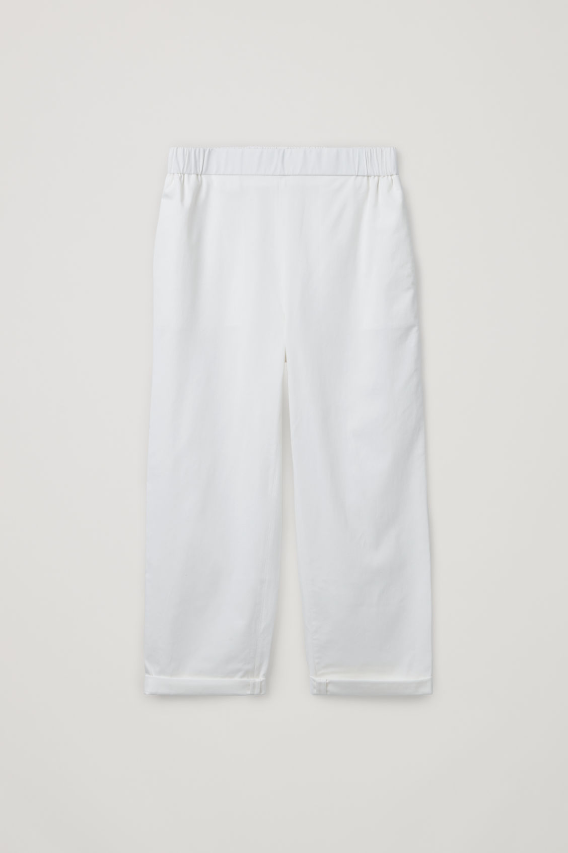 Front image of Cos cropped cotton poplin trousers in neutral