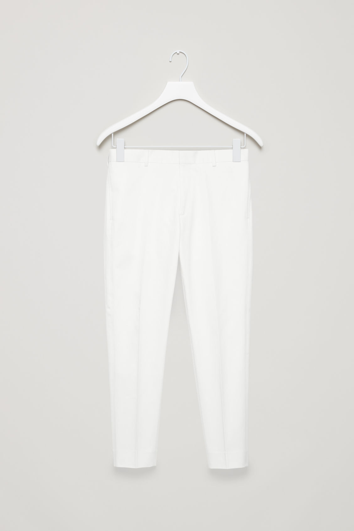 Front image of Cos slim-fit cotton twill chinos  in white