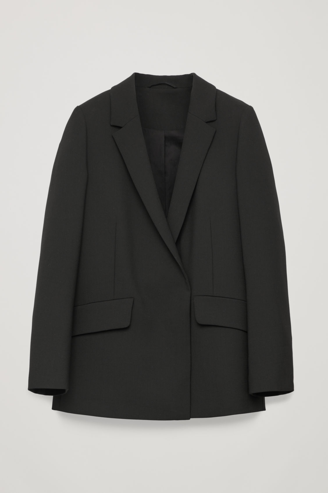 Front image of Cos long slim-fit blazer in black