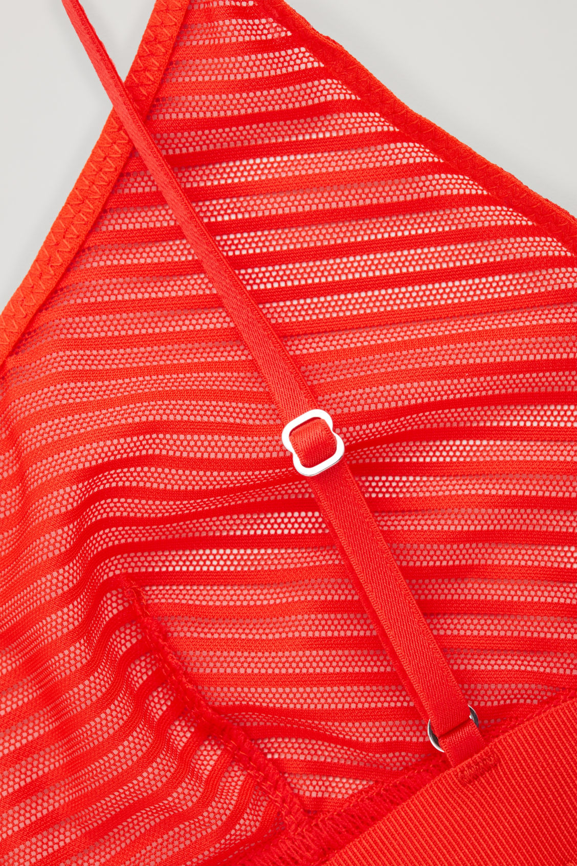 Side image of Cos striped mesh bra in red