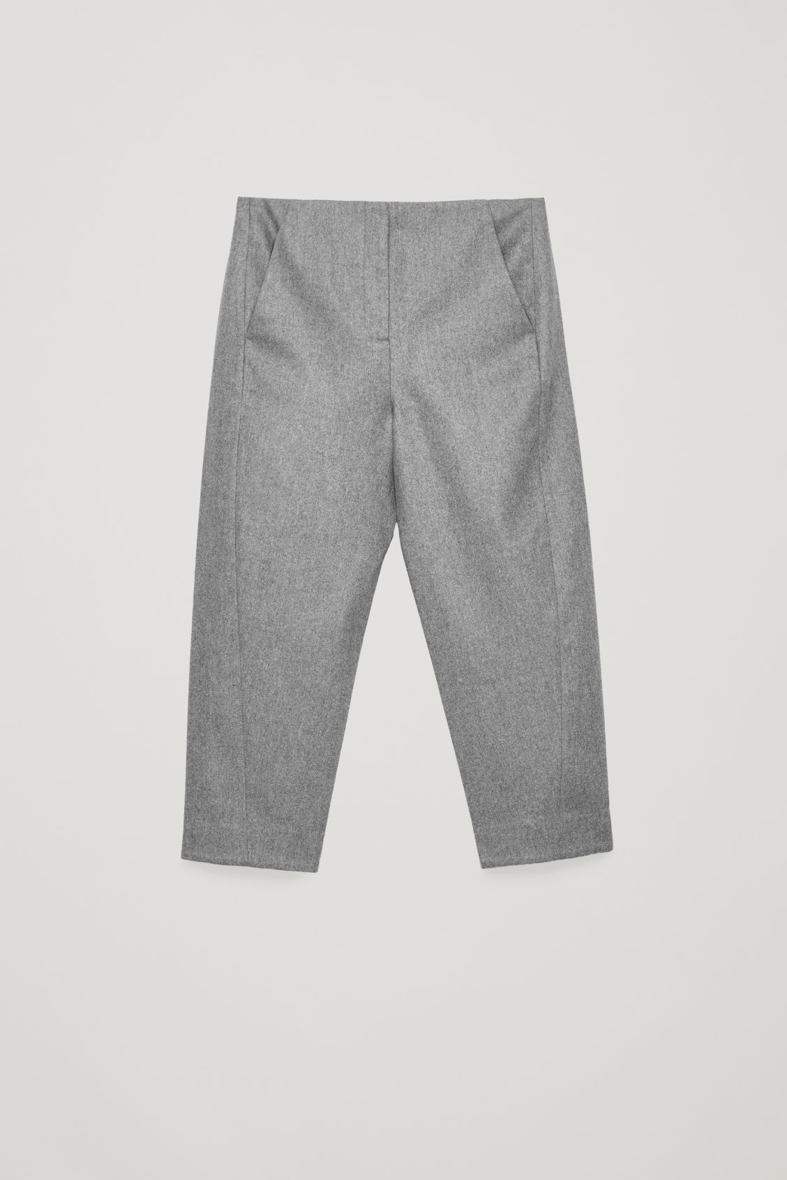 Front image of Cos twisted-seam wool trousers in grey