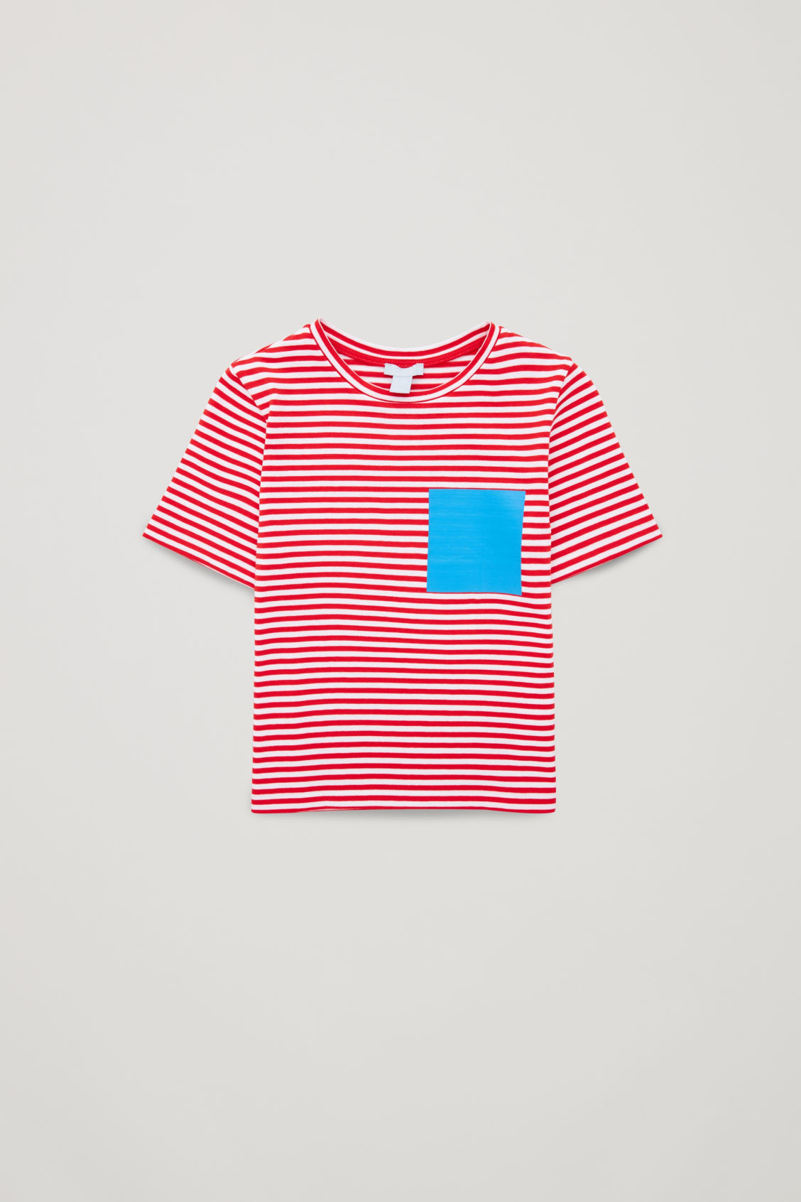 Front image of Cos striped t-shirt with fake pocket in red