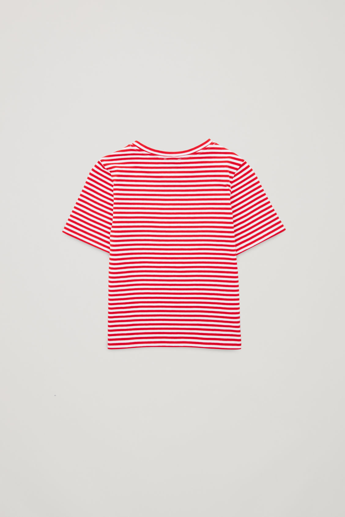 Side image of Cos striped t-shirt with fake pocket in red