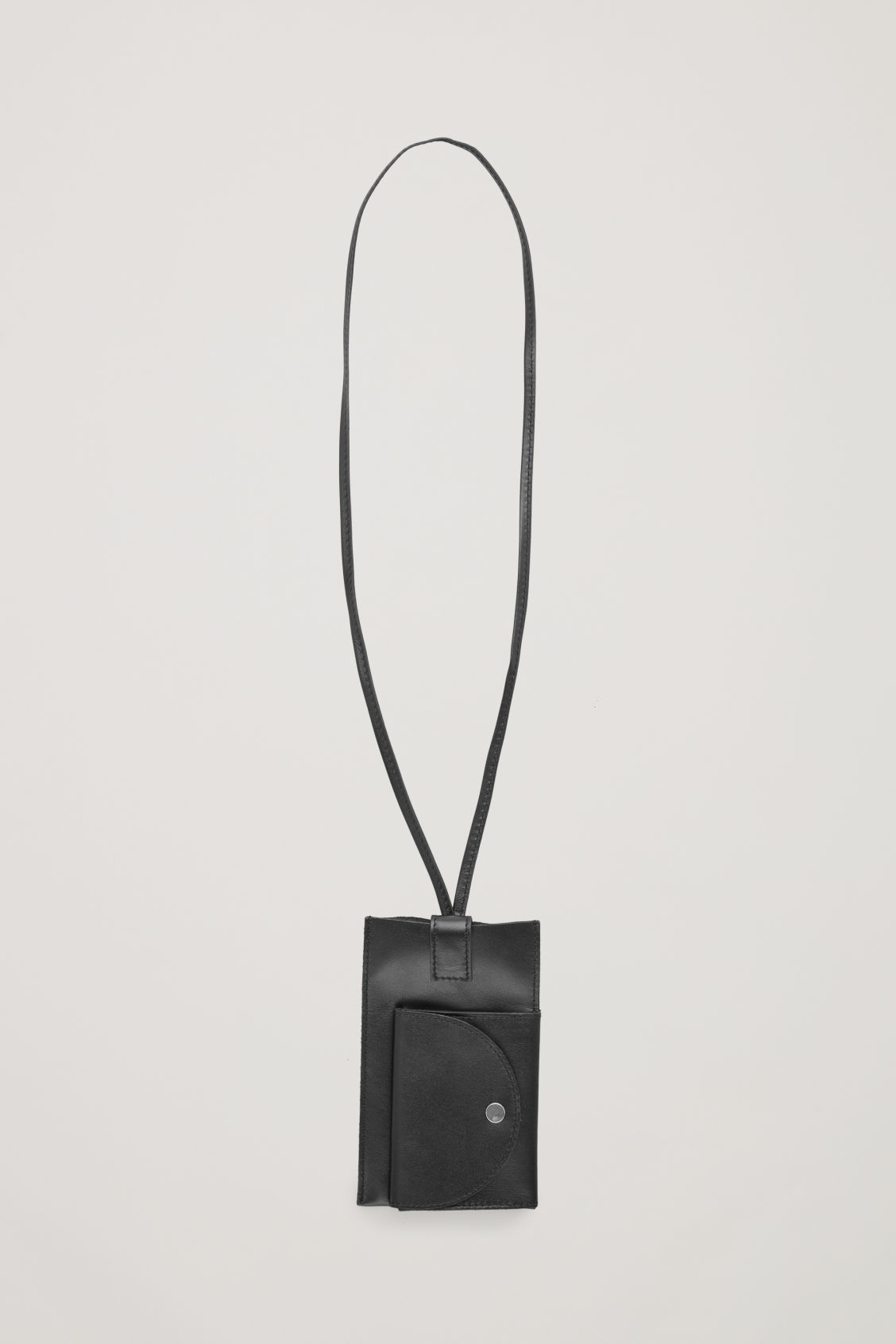 Front image of Cos leather phone case with purse in black
