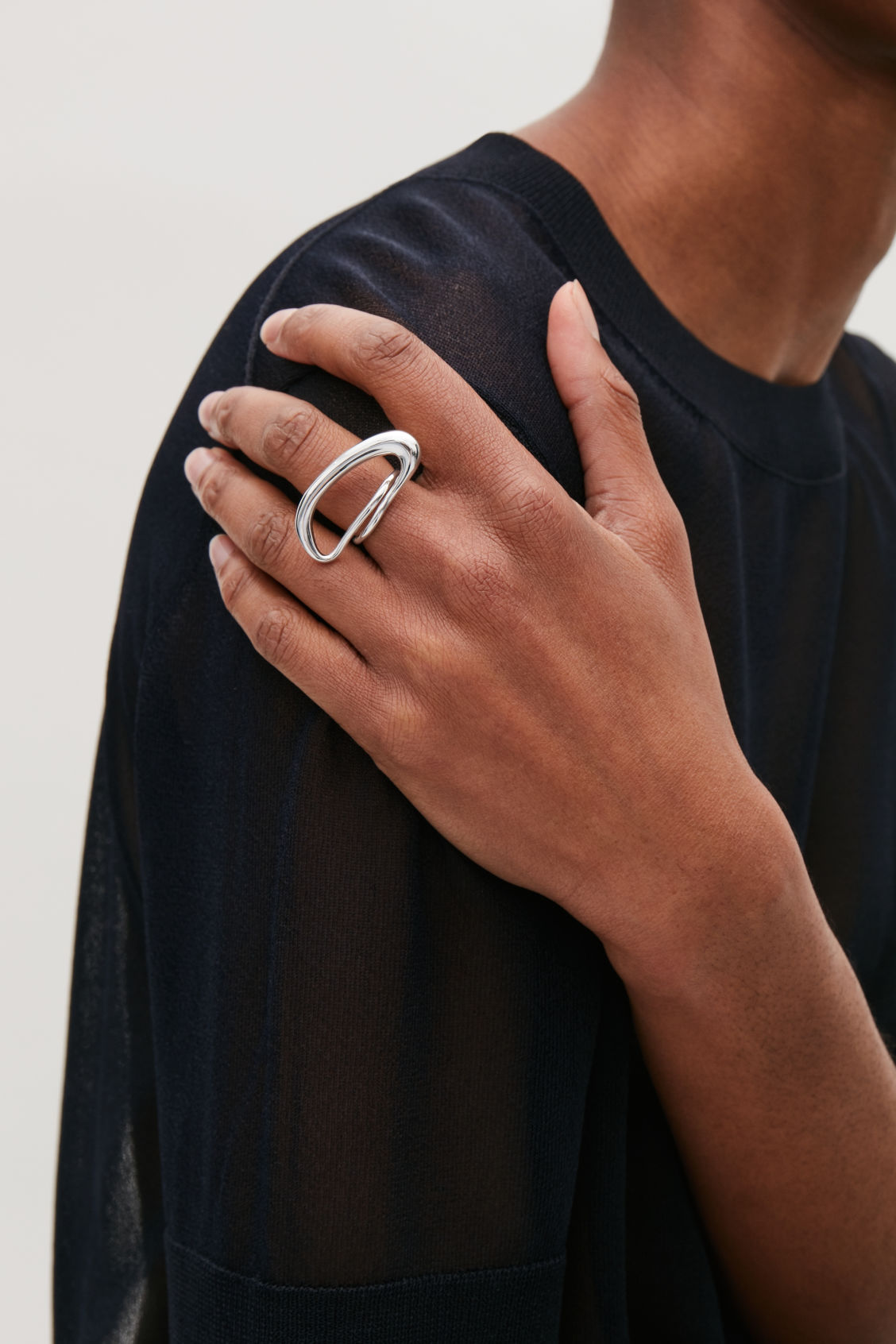 Side image of Cos gradual statement ring in silver