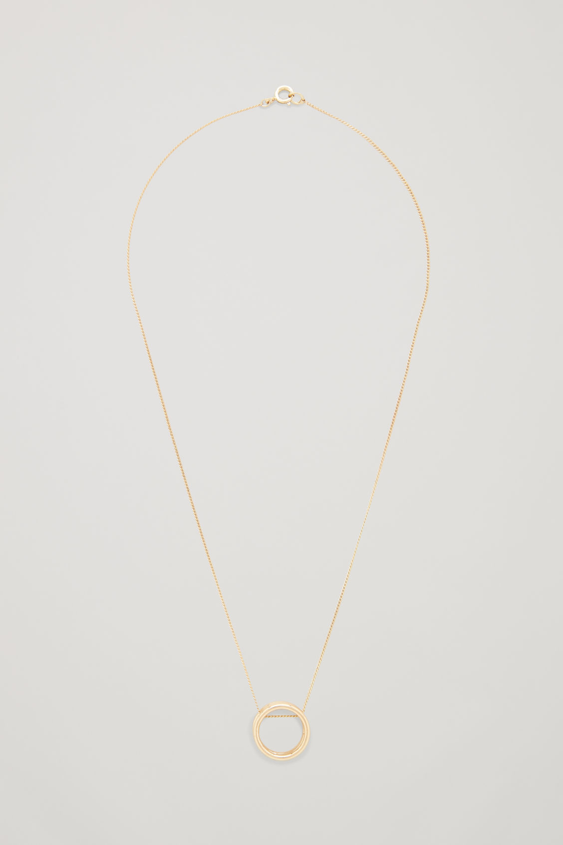 Front image of Cos layered-hoop pendant necklace in gold