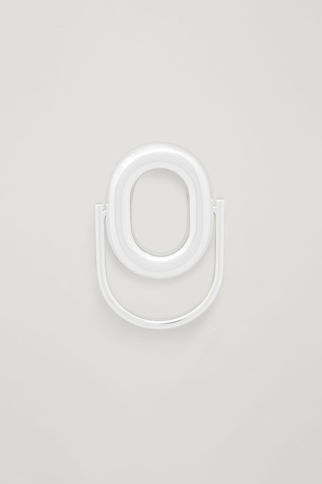 Front image of Cos rotating oval ring in silver